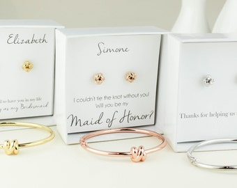Bridesmaid Gift, Tie the Knot jewelry, Knot Earrings, Bridesmaid Earrings, Rose Gold Knot Earrings, Bridesmaid Gift, Bridesmaid Jewelry