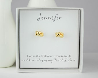Bridal Party Gift, Gold Knot Earrings, Bridesmaid Earrings, Knot Earrings, Bridemaid Gift, Bridal Earrings,  Tie the knot jewelry