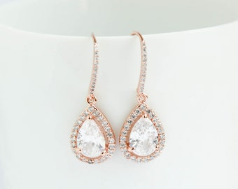 Bridal Earrings, Rose Gold Earrings, Rose Gold Drop Earrings, Rose Gold Dangle Earrings, Rose Gold Dipped earrings, Bridal