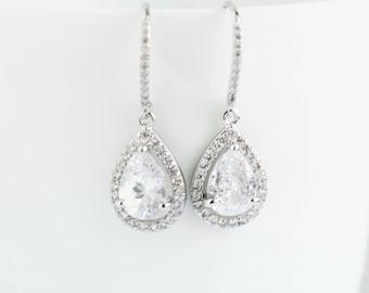 Bridal Earrings, White Gold Earrings,White  Gold Drop Earrings, White Gold Dangle Earrings,White Gold  Dipped Earrings, Bridal