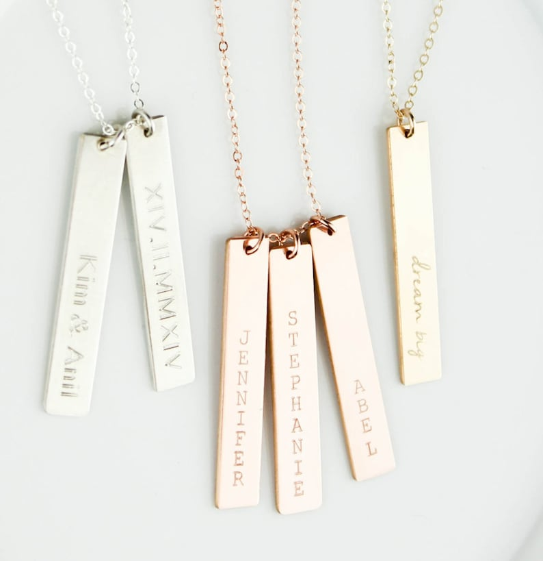 Engraved Necklace Roman Numerals Necklace Long Necklace image 0