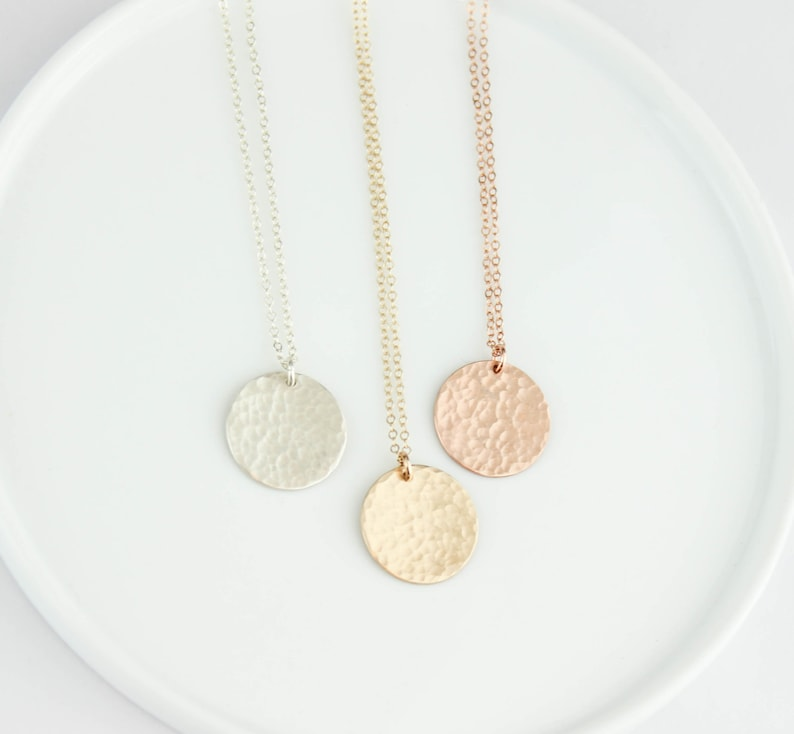 Hammered Disc Necklace Circle Necklace Tag Necklace Disc image 0