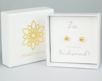 Gold Knot Earrings, Bridesmaid Earrings, Knot Earrings, Bridemaid Gift, Bridal Earrings,  Tie the knot jewelry, Bridal Party Gift, Earrings