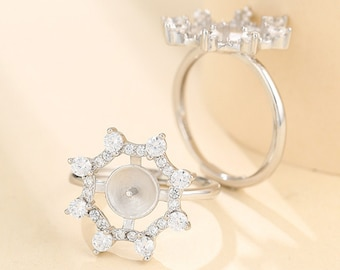 16mm Bezel Ring Setting Glamour FX Glass Available. Adjustable Wide Band