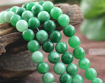 Grade A Natural Multi Tones Green Jade Beads 6mm 8mm 10mm 12mm Smooth Polished Round 15 Inch Strand JA26 Wholesale Beads
