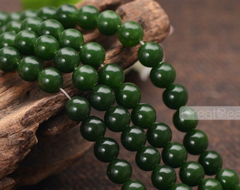 Grade A Natural Dark Green Jade Beads 6mm 8mm 10mm 12mm Smooth Polished Round 15 Inch Strand JA05 Wholesale Beads