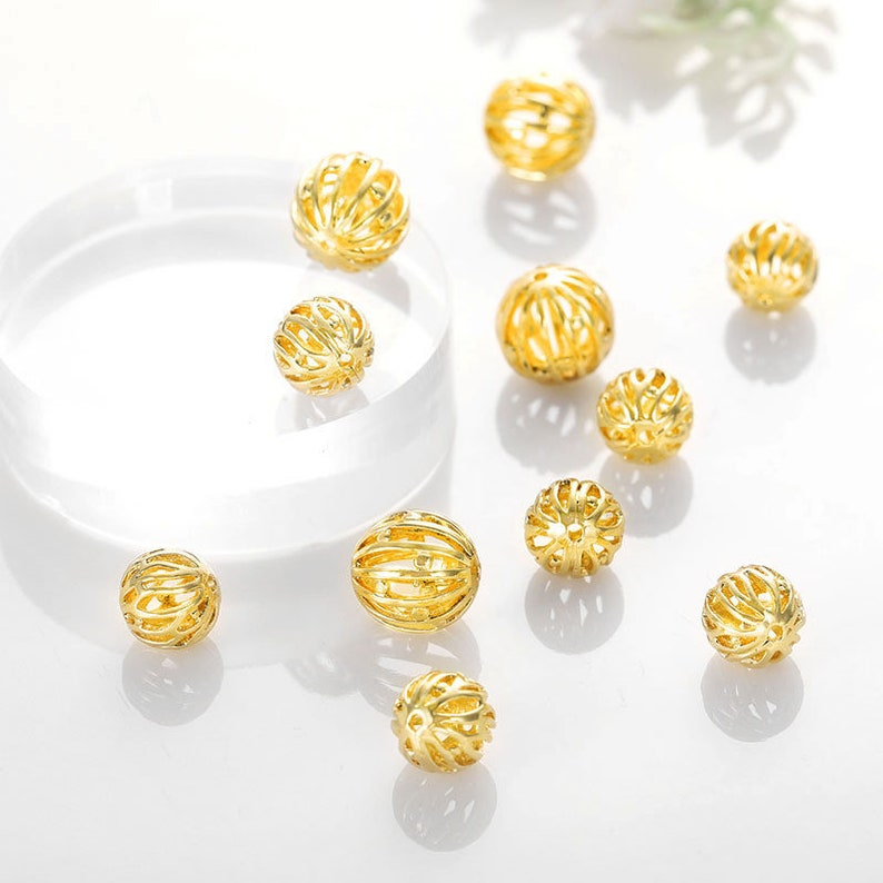 20 pcs Gold Plated Brass Beads Openwork Round Spacer Beads 8mm 10mm BS026