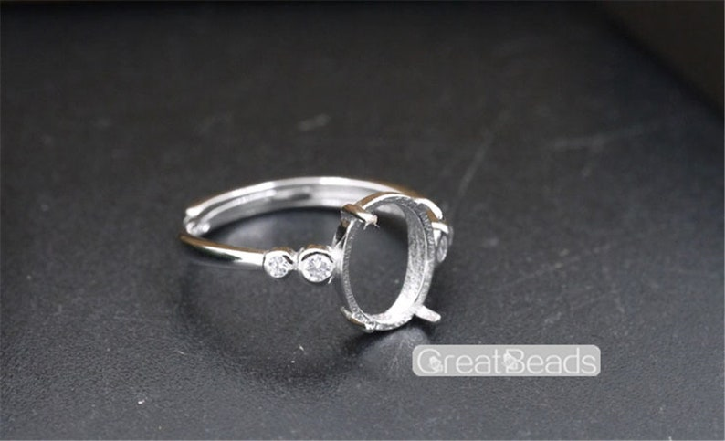 Ring Setting for 8x10mm Oval Cabochons White Gold Plated 925 Silver Zircon Adjustable Band Ring Blank JZ340