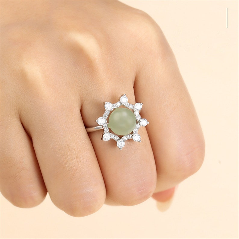 Ring Blank for 8mm-9mm Round Beads or Pearls White Gold Plated 925 Silver Zircon Ring Setting Adjustable Ring Base SR0096