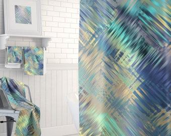 Modern Bathroom, Shower Curtain, Bathroom Decor, Bath Curtain, Bathroom Curtain, Long Shower Curtain - Towels, Bath Mat Available