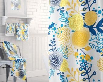 Yellow Bathroom Decor, Shower Curtain Towels Bath Mats, Yellow Shower  Curtain, Bathroom Decor