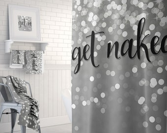 Get Naked Bathroom Decor Shower Curtain With Optional Matching Bath Mat And Hand Towels Available