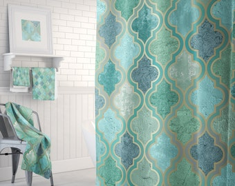 Green Aqua Teal Moroccan Shower Curtain With Optional Matching Towels And Bath Mats