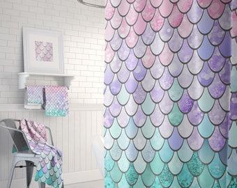 "Pastel Mermaid Scales Shower Curtain, Pastel Mermaid Shower Curtain, Mermaid Shower Curtain, Mermaid Bathroom Curtain, 71"" x 74"""