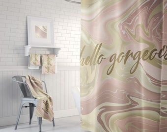 Hello Gorgeous Shower Curtain With Optional Matching Bath Mats And Hand Towels Available Rose Gold Pink Marbled Design