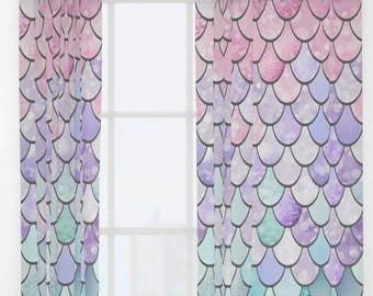 Mermaid Window Curtains Full Length 50x84 Set Of 2 Panels Blocks Out Some Light Girls Bedroom Decor Pastel Pink Purple And Teal