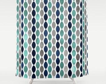 Bathroom Shower Curtain Navy Grey Gray Teal Bath Decor Curtains 71 X 74
