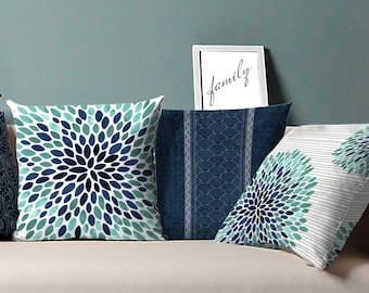 Navy and Aqua Pillow, Navy Aqua Pillow, Blue and Aqua Pillow, Blue Aqua Pillow, Navy Gray Aqua Pillow, Aqua Navy Pillow, Gray Aqua Pillow
