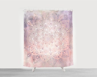 Boho Shower Curtain Bohemian Pink Bathroom Decor With Matching Hand Towels Bath Mats