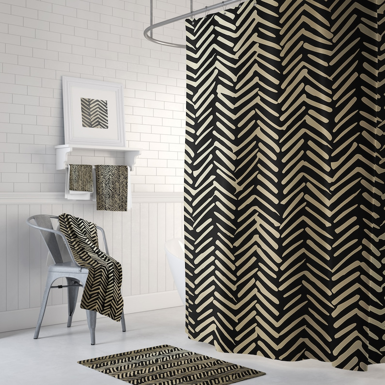 Black And Gold Bathroom Decor Shower Curtain With Optional Matching Hand Towels And Bath Mats Available Abstract Herringbone Design
