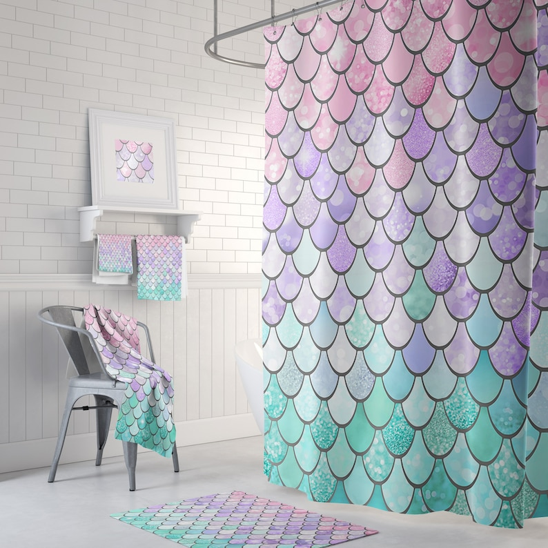 Pastel Mermaid Shower Curtain With Optional Matching Hand