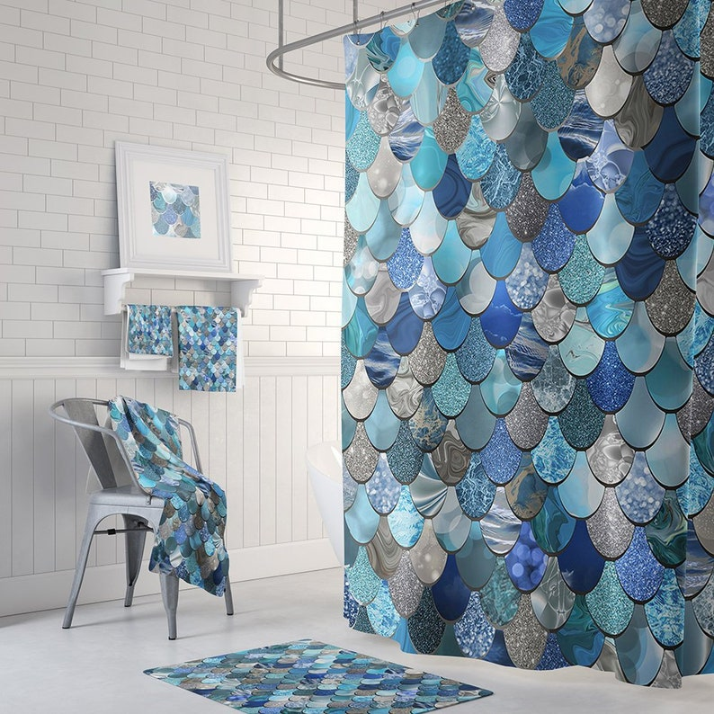 Mermaid Blue Shower Curtain With Optional Matching Hand Towels