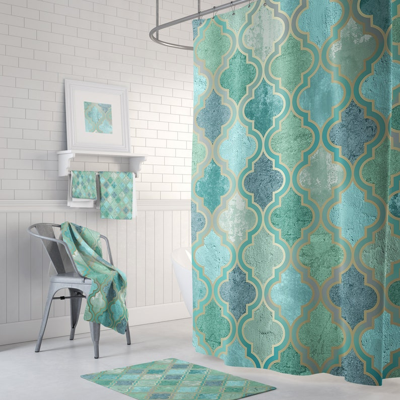 Green Aqua Teal Moroccan Shower Curtain With Optional