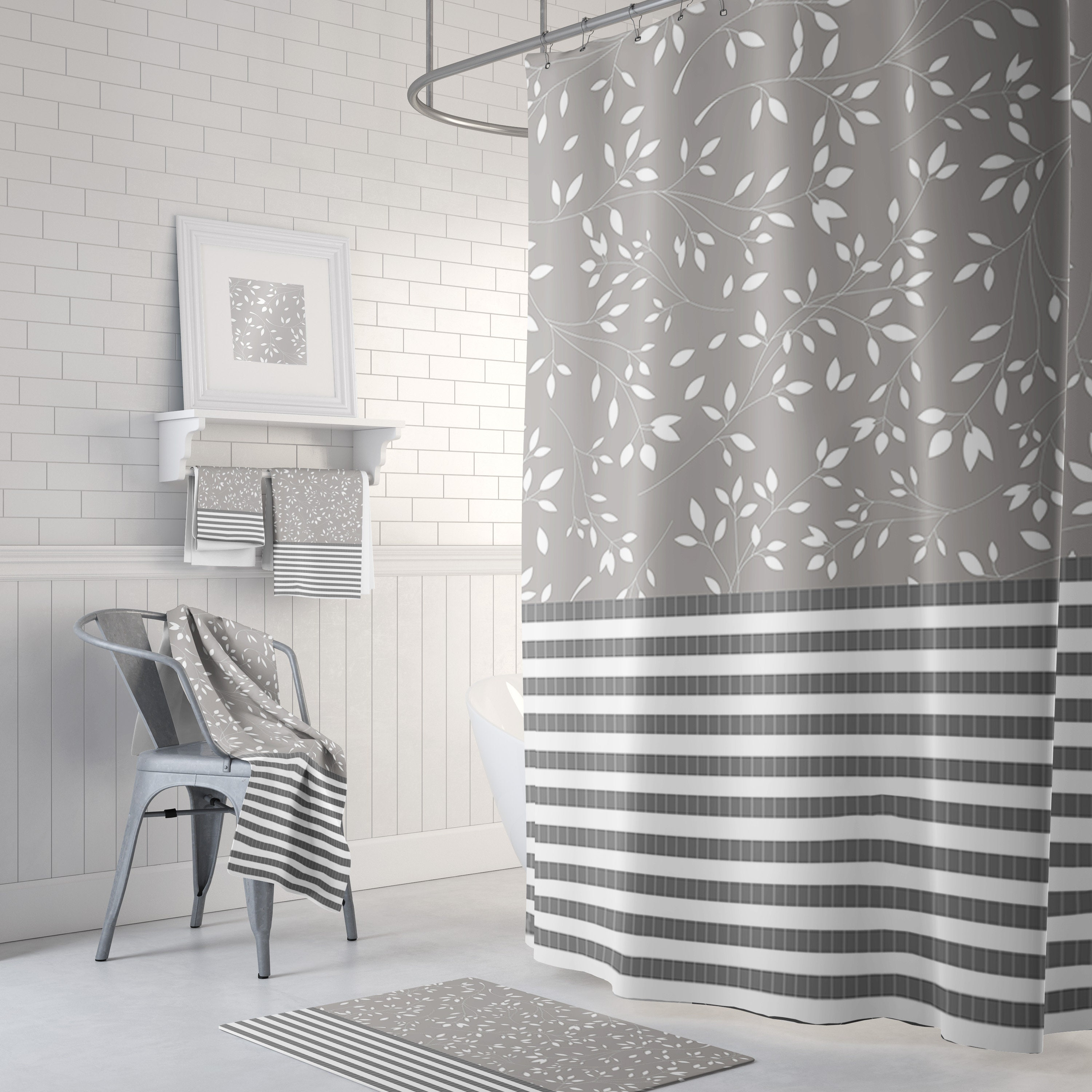 Gray Shower Curtain Striped And Floral Shower Curtain Etsy