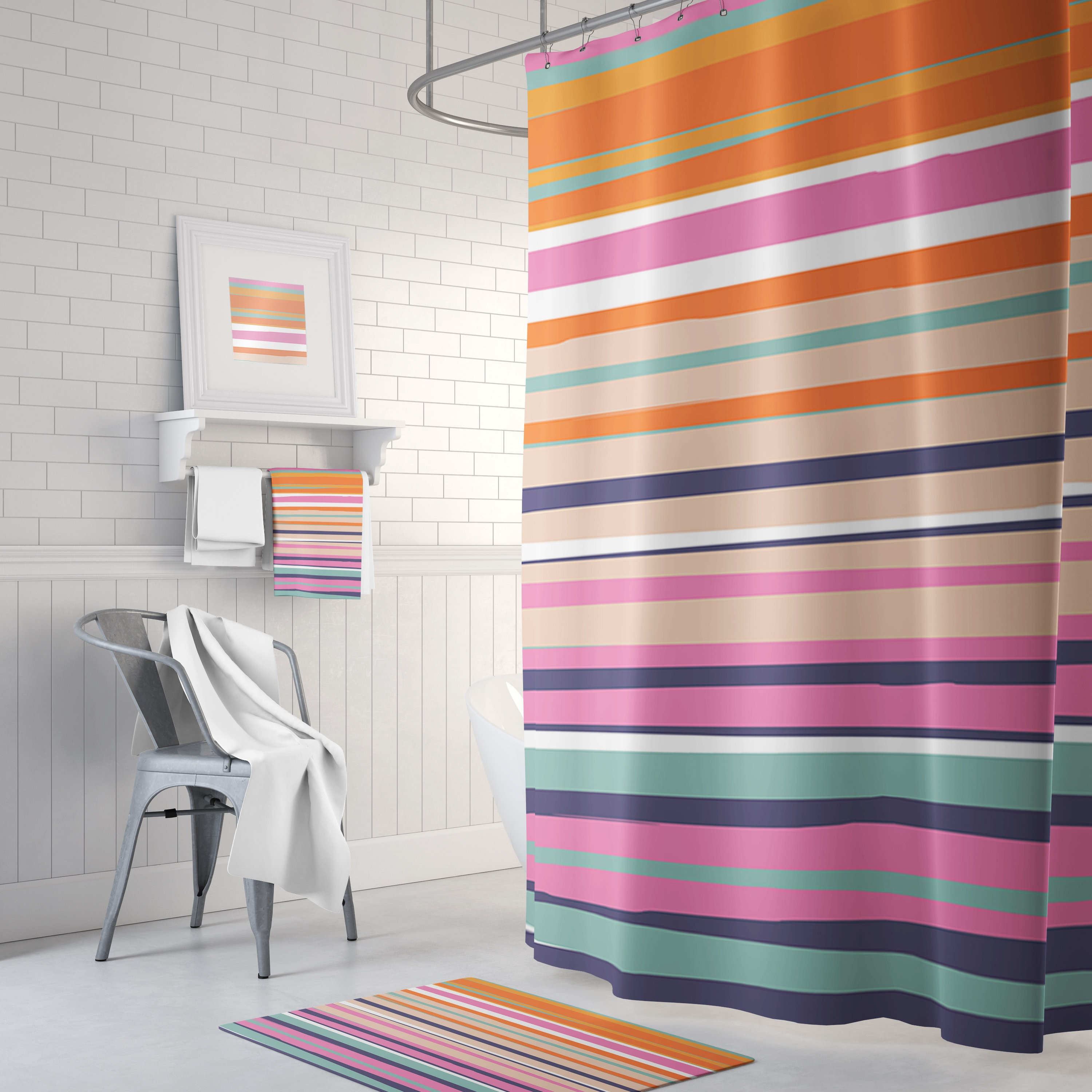 Colorful Fun Striped Kids Shower Curtain Bath Mats And Hand Towels Can Also Be Purchased On This Listing Prices Starting At