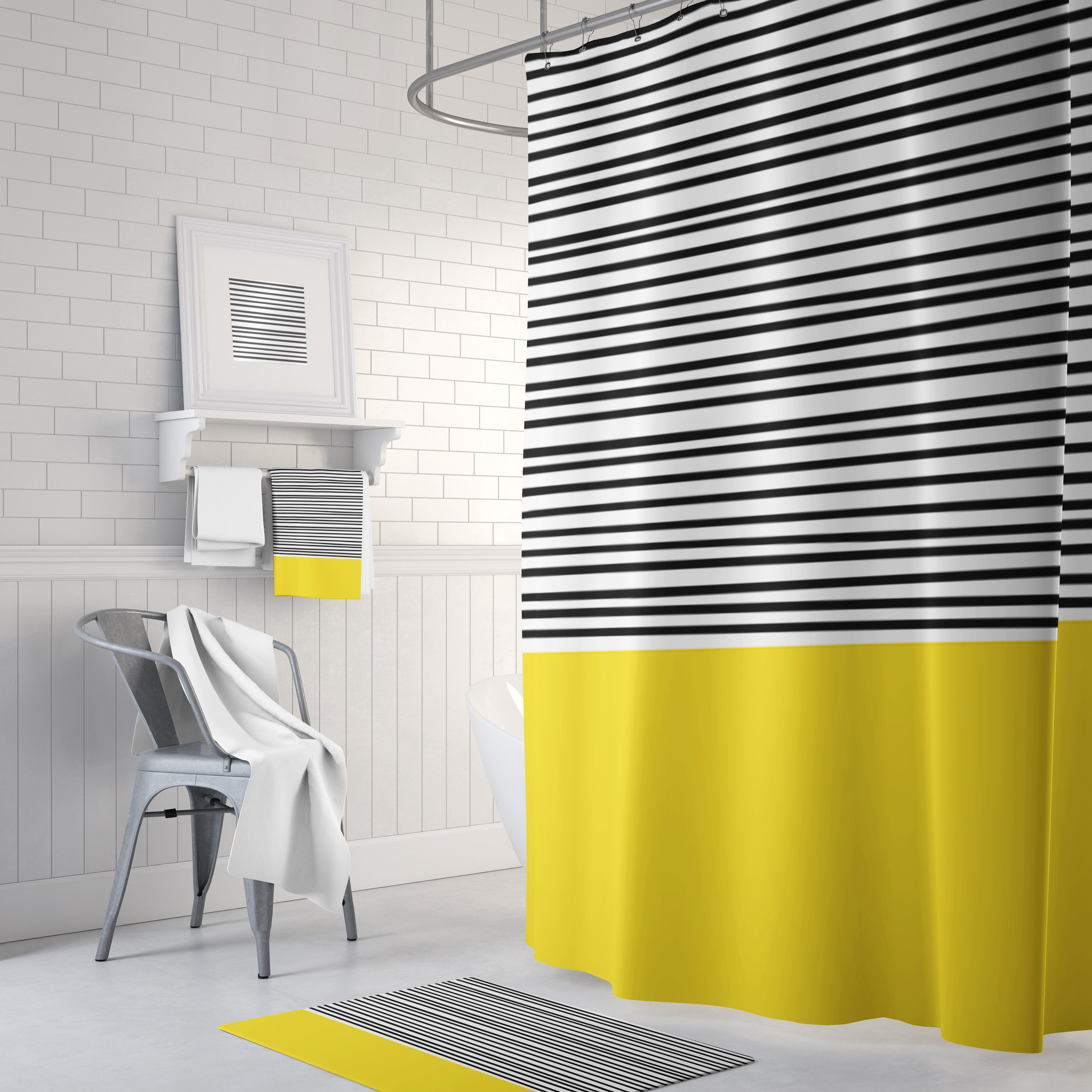 Yellow Black And White Striped Shower Curtain Bath Mats And Hand Towels Can Also Be Purchased On This Listing Prices Starting At