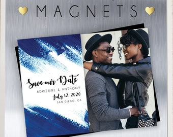 Rich & Royal Blue Save the Date MAGNETS, premium magnets, modern wedding, watercolor, engagement magnet, save our date + Envelopes Included