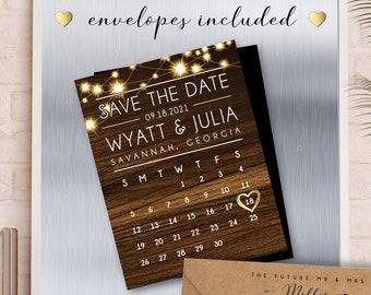 MAGNETS >> Save the Date >> Rustic Spark Calendar Magnets, faux wood, rustic wedding, wedding calendar, string lights >> Envelopes Included