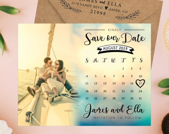Delightful & Dreamy Save the Date Calendar Magnets, personalized, save the date magnets, wedding watercolor, wedding calendar + Envelopes