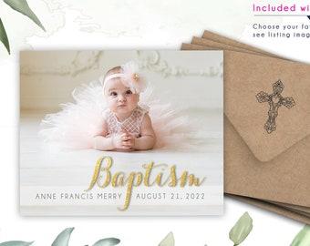 Golden Baptism Photo Magnets,   Envelopes Included   bautizo, bautizada, Dios bendiga, spanish, christening, mailable
