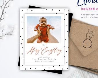 Modern & Playful Christmas Photo Magnet   Envelopes Included, Christmas Card With Photo, Christmas magnet, 2021 photo magnet