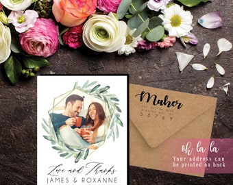 Whimsical Watercolor Photo Magnet | Envelopes Included | party favors, thank you favor, green, wedding favors, wedding thank you, mailable