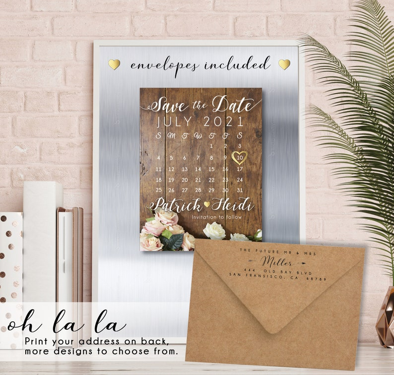 Rustic Rose Save the Date MAGNETS calendar premium magnet image 0
