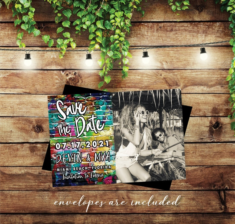 Boldly Beautiful Graffiti Style Save the Date MAGNETS premium image 0