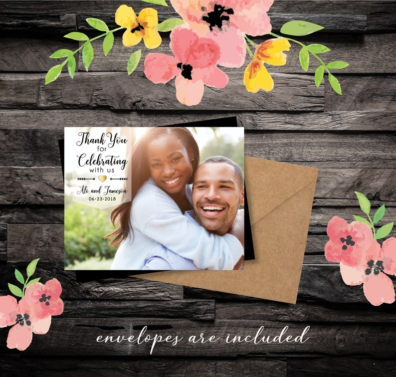 Simply Elegant Thank You Photo Magnets wedding favors gold image 0