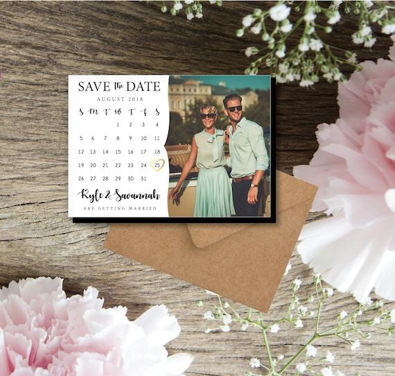 Wedding Calendar Photo Magnets Retro Personalized Calendar Etsy