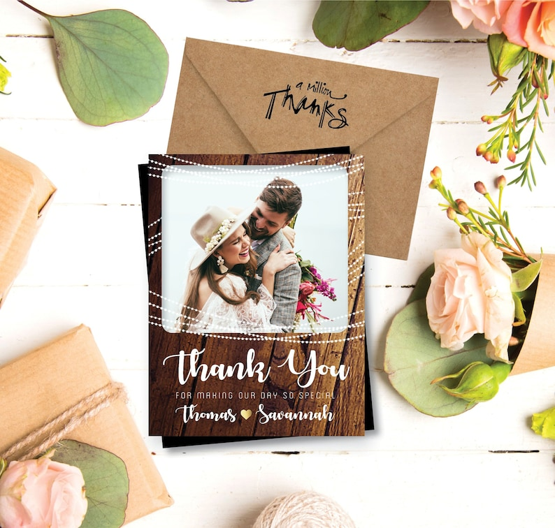 Rustic & Sweet  THANK YOU Photo Magnets personalized high image 0