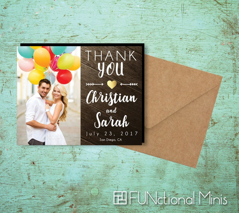 Charming Rustic Thank You Photo Magnets wedding favors gold image 0