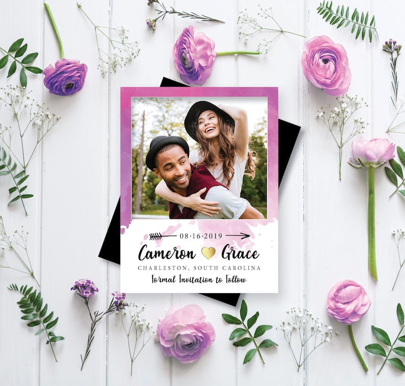 Magestic Magenta Watercolor Save the Date Magnets  Printable image 0