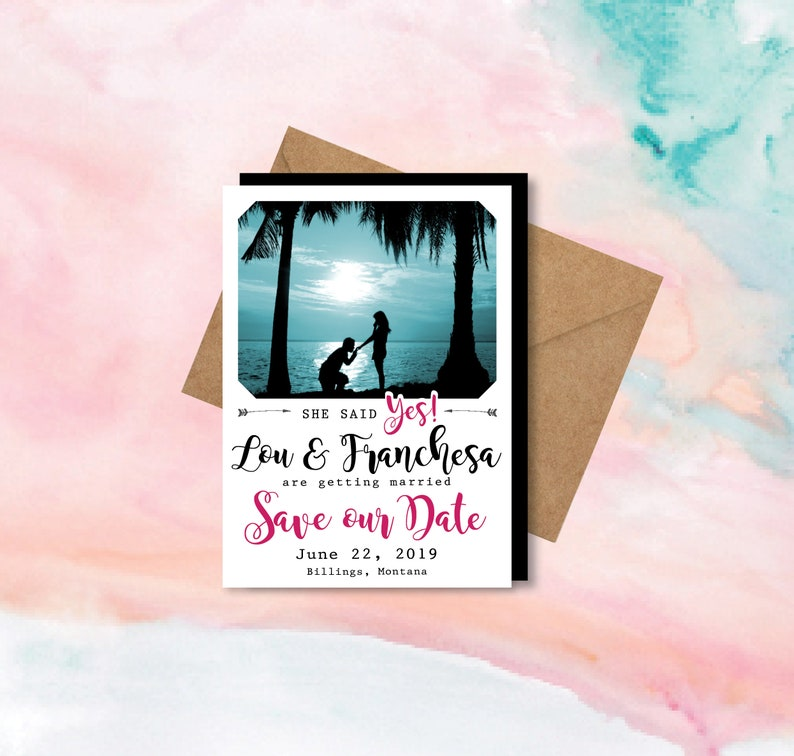personalized Save the Date Photo Magnets fun wedding Envelopes She Said Yes save the dates save the date magnet wedding magnets