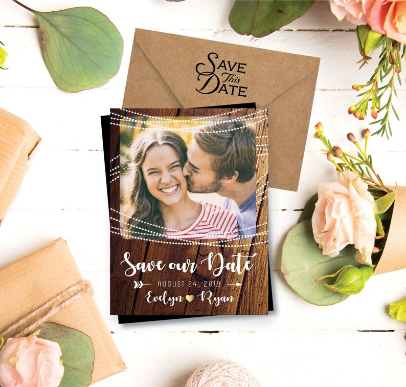 Rustic & Sweet Save the Date Photo Magnets personalized save image 0