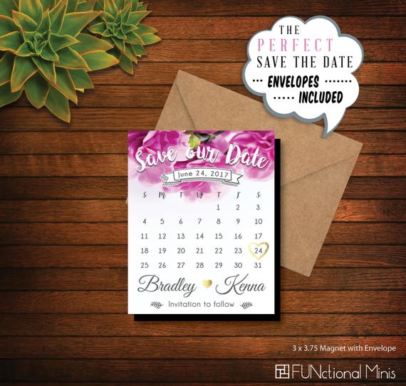 photograph relating to Printable Magnets named Blooming Fuschia Help you save our Day Calendar Magnets Printable Conserve the Dates, marriage ceremony magnet, customized calendar, wedding day Options + Envelopes