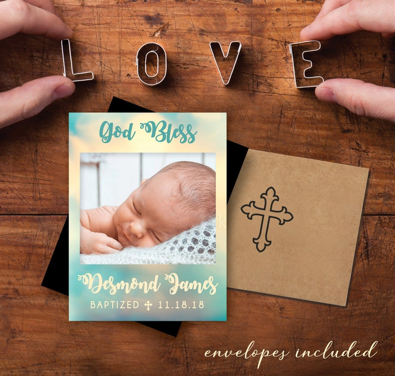 Oh So Sweet  Watercolor Baptism Photo Magnets high quality image 0