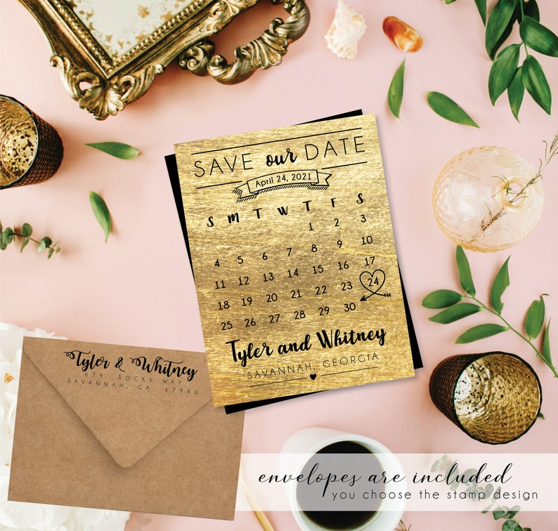 Gracious & Gold Save the Date Calendar Magnets faux gold image 0