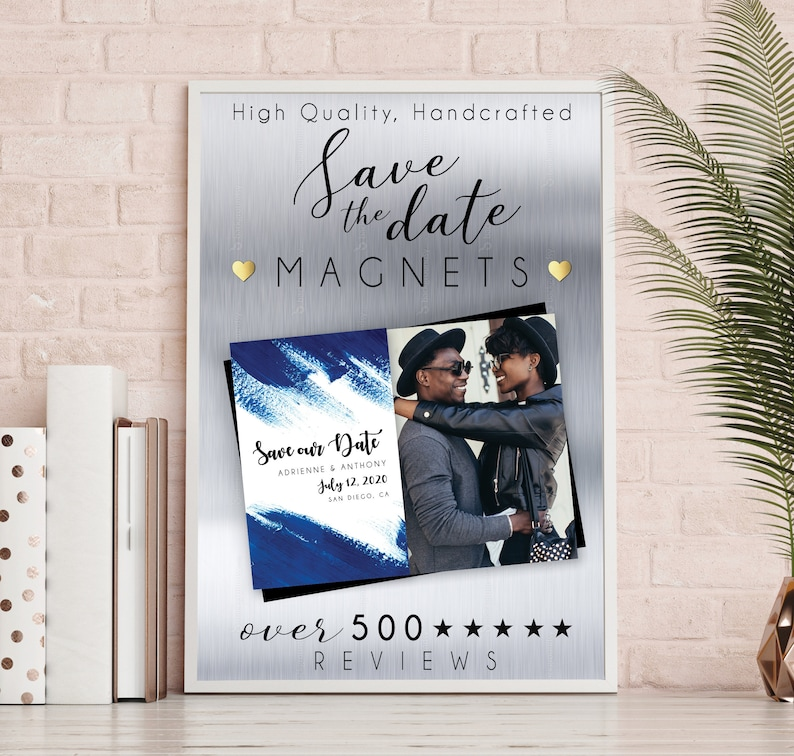 Rich & Royal Blue Save the Date MAGNETS premium magnets image 0