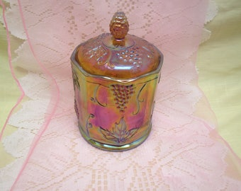 Amber Carnival Glass Covered Candy Jar or Canister, Grape harvest,  Candy Dish,